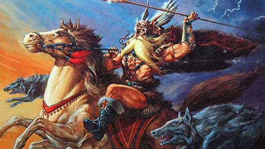 Wodan op zijn paard Sleipnir.