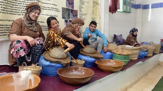 Vrouwen in traditionele kleding laten toeristen zien hoe ze argannoten persen.
