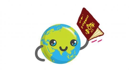 Globy met een paspoort in zijn hand
