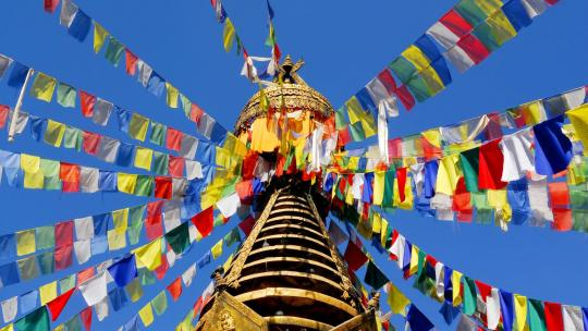 De Bodnath stoepa bij Kathmandu in Nepal.