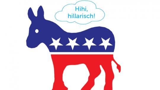 De kleur van de Democraten is blauw en de mascotte van de partij is de ezel.