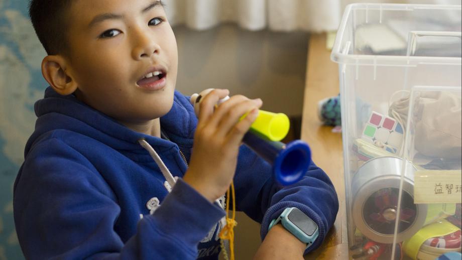 Al het speelgoed van Ethan uit Shanghai zit in een plastic opbergbox