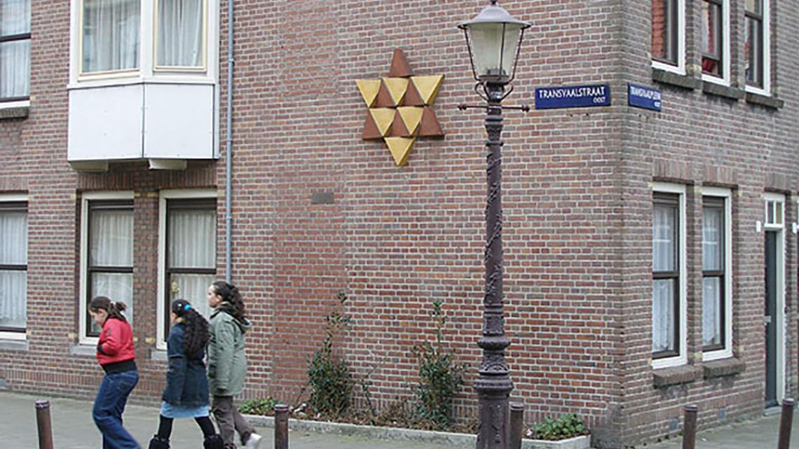 Davidster aan muur in Amsterdam