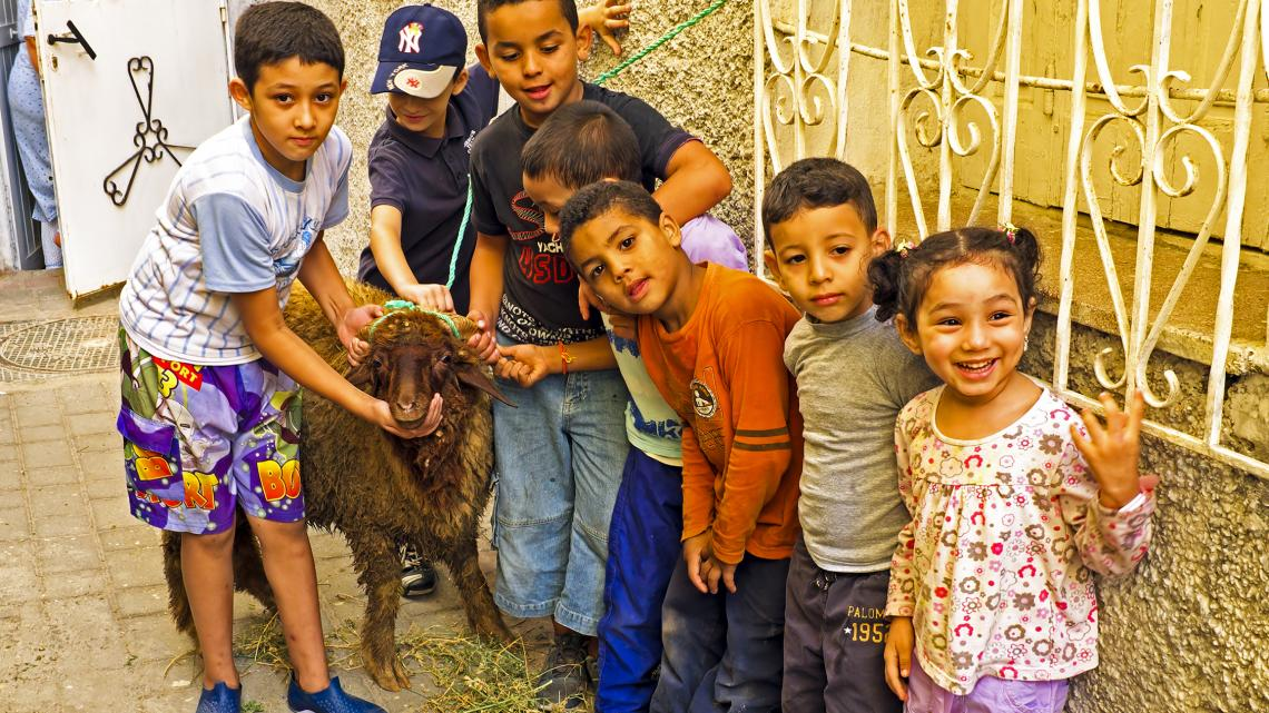 In de Marokkaanse stad Fez vieren kinderen het Offerfeest.