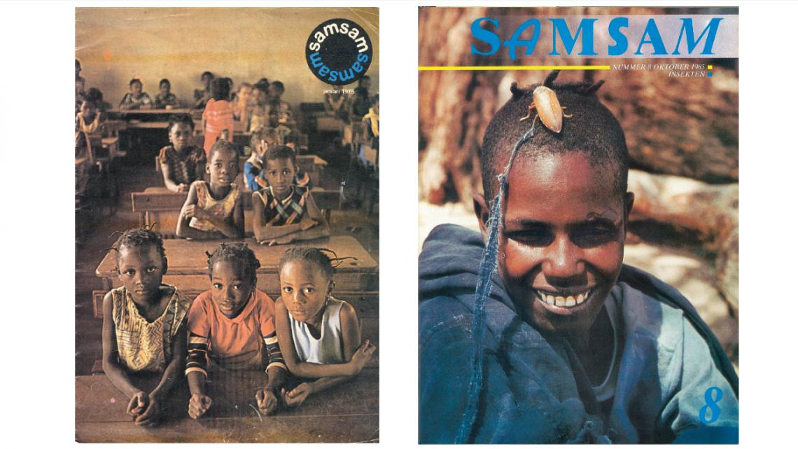 De cover van de eerste Samsam uit 1975 en één uit 1985. o.