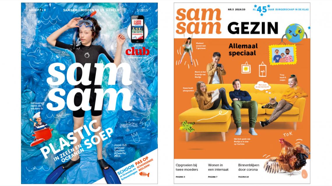 De covers van Samsam uit 2015 en 2020