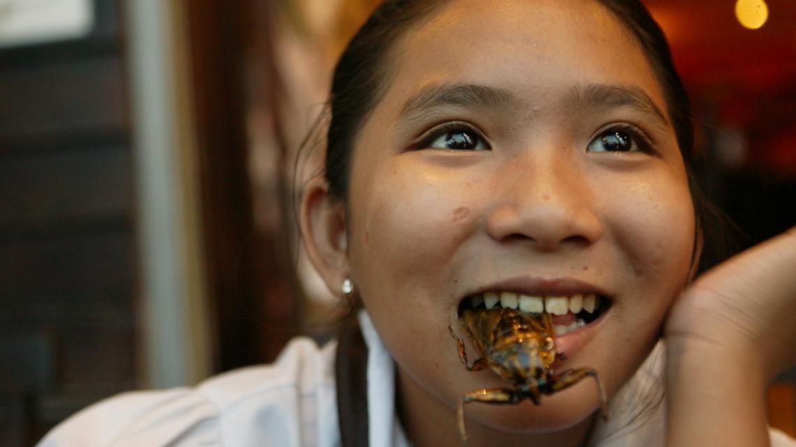 Theavy uit Cambodja eet een knapperig insect.