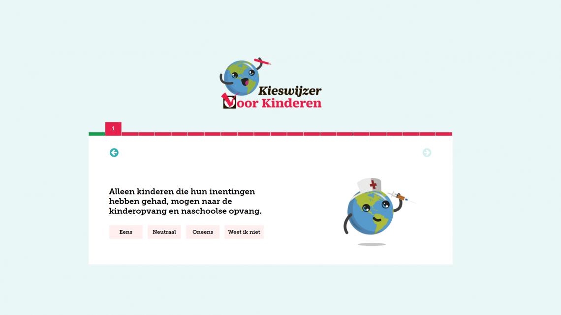 screenshot van de kieswijzer voor kinderen