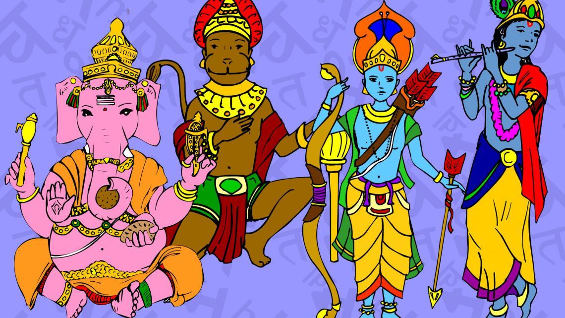 v.l.n.r: de hindoegoden Ganesh, Hanuman, Rama en Krishna