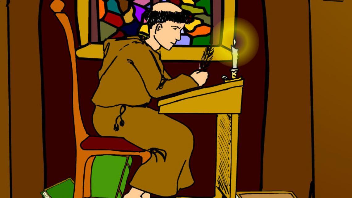 De bijbel werd vroeger door monniken met de hand geschreven.
