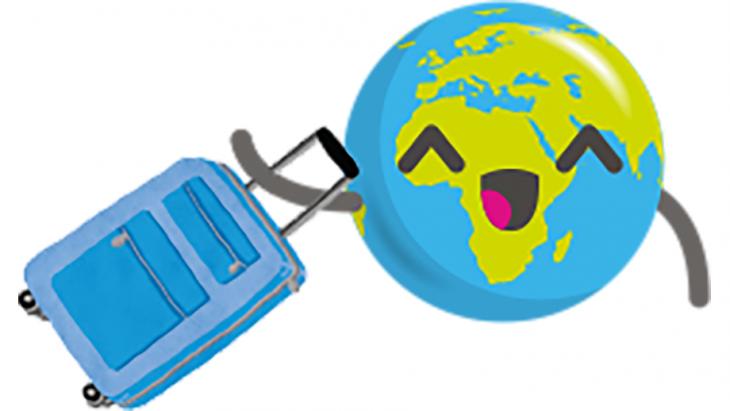 Globy gaat op reis met een rolkoffer