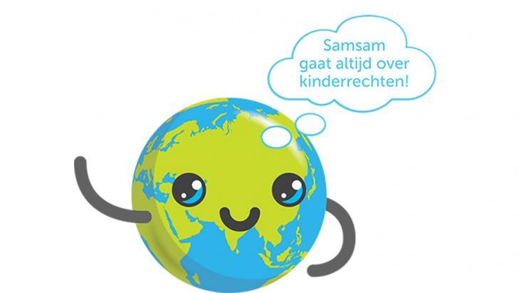 Globy met tekst: Samsam gaat altijd over kinderrechten!