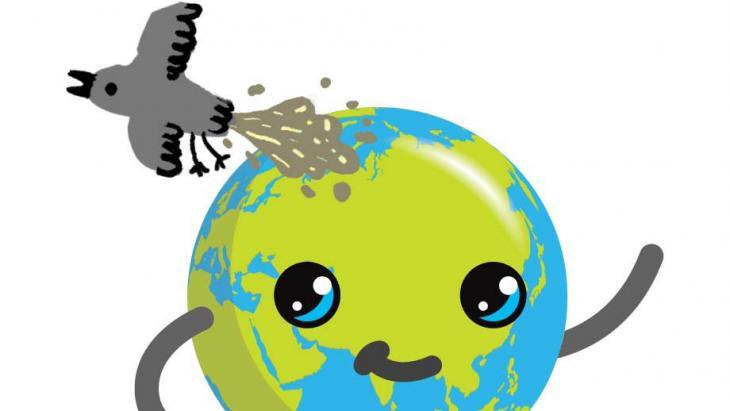 Een meeuw poept op Globy