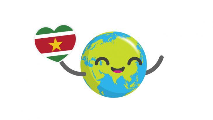 Globy met een hartje in de Surinaamse vlag