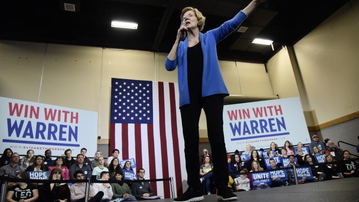 Elizabeth Warren is één van de Democraten die de strijd met president Trump wil aangaan bij de komende verkiezingen in Amerika.