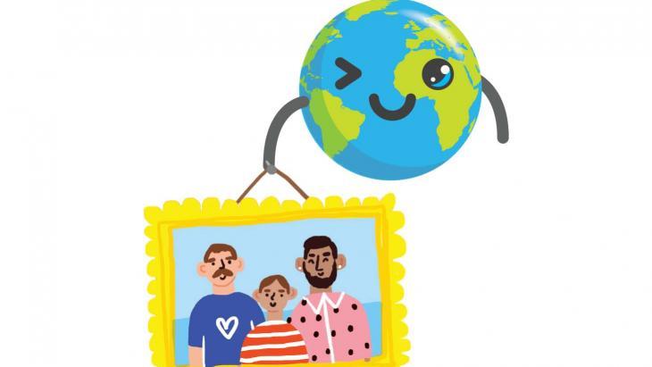 Globy met een familieportret