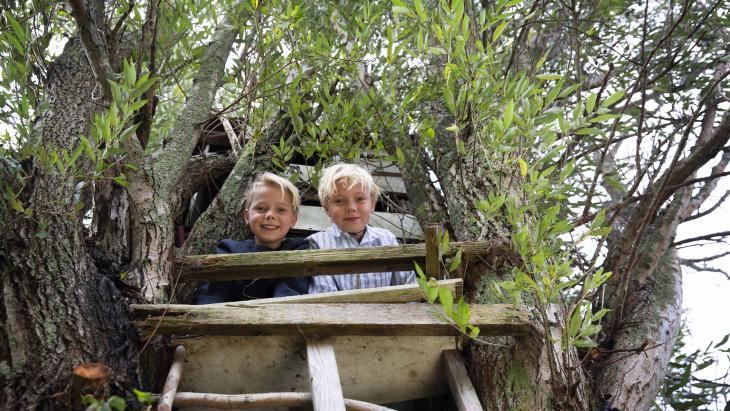 De tweeling Floyd en Meander hebben een metershoge boomhut.