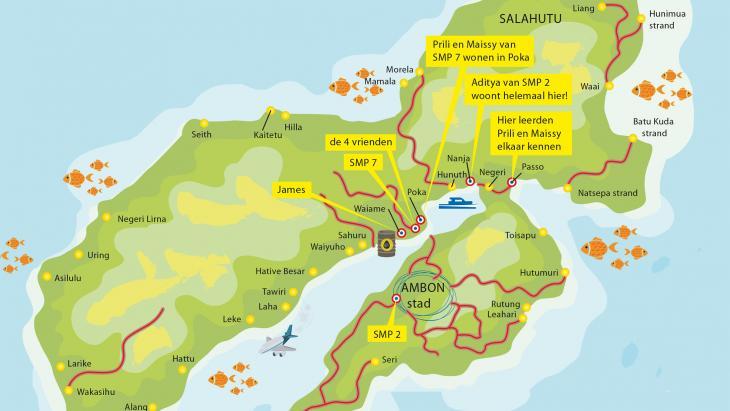 Kaart met de ligging van SMP2, SMP7 en de woonplaats van sommige leerlingen.