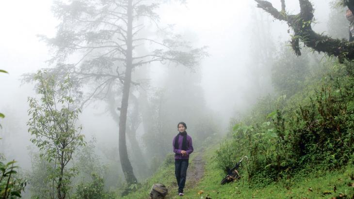 Ondanks de mist weet Sudha de weg door het bos.