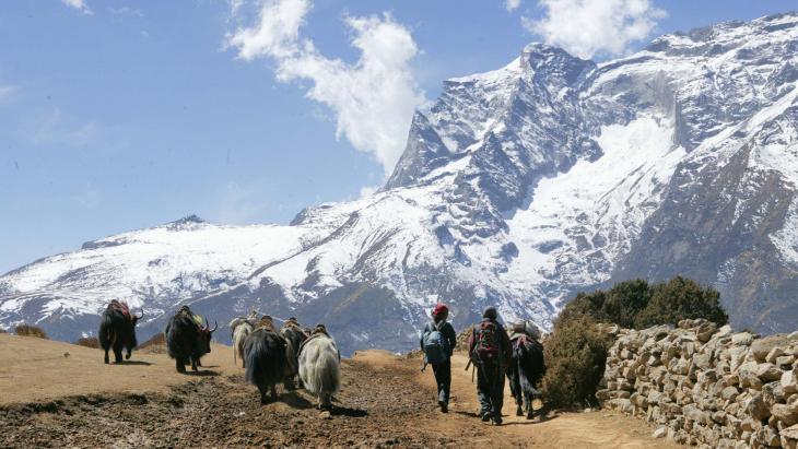 Van de tien hoogste bergen in de wereld liggen er acht in Nepal. Eén daarvan is zelfs de allerhoogste: de Mount Everest. Omdat de Mount Everest wel het dak van de wereld wordt genoemd, heet Nepal ook wel 'land onder het dak van de wereld'.