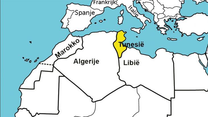 Tunesië ligt in het noorden van Afrika.